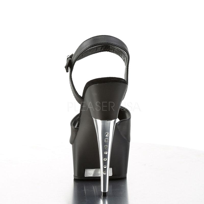 Nu-pieds noirs plateformes - Pointure : 35 Chaussures femmes Pleaser vue de face talon haut chaussures